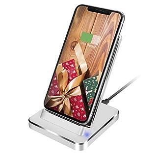 Fast Wireless Charger, Aluminium 7.5W Qi Ladestation für iPhone X/XS/XS Max/XR/8/8 Plus, 10W Kabelloses Induktions Ladegerät Schnellladestation für Samsung Galaxy S9/S9+/Note 9/S8/S8+/S7/S7 Edge/S6