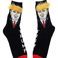 Calcetines Trump, Divertidos calcetines unisex del presidente Donald Trump con calcetines de pelo sintético en 3D, calcetines de skate de hip hop, calcetines estampados de dibujos animados lindos