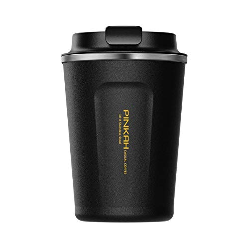 Coffee to Go Cups/Tumbler/Travel Mug,Double Wall Stainless Steel Insulated Vacuum Cup with lid for Travel & to-Go Hot/Cold Drinkware,380 ml / 13 oz, Black