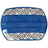 Snack Plate 7IN Ceramic/Stoneware In Blue And White (Set Of 1) Handmade By Caffeine