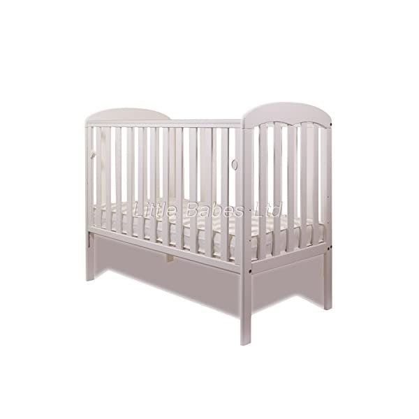New Little Babes Ltd Mia Dropside Baby Cot Only (White) LITTLE BABES LTD *Little Babes Ltd Mia Dropside Cot complies with all current British & European Safety Standards BS EN 716-1: & 2:2008 *Cot Features: - drop side cot - quality pine wood - drop side - 3 position mattress base - teething rails - strong base *Cot Dimensions: - H103 x W67 x L124,5cm 2