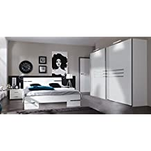 Schlafzimmer 4-tlg. in Alpinweiß mit Chrom-Aufleistungen, Schrank B: 225 cm, Futonbett 180 x 200 cm, 2 Nachtschränke B: 52 cm