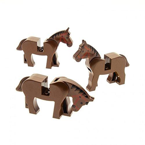 Bausteine gebraucht 3 x Lego System Tier Pferd braun Zaumzeug rot Mähne schwarz für z.B. Zoo Zirkus Bauernhof Western Wild West Indianer Ritter Cowboy 4493c01pb01