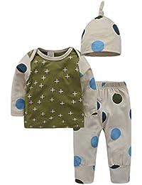 Xinwcanga Newborn Baby Junge Mädchen Lange Ärmel T-Shirt + Hosen + Hut Outfits