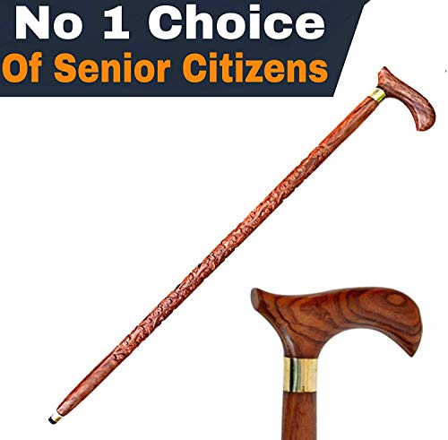 Cosy Tossy wooden walking sticks for old people with Handle (36-inch, Brown) / wooden walking stick/walking stick