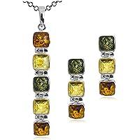 Noda - Parure con elementi cubici in ambra multicolore e argento sterling, 46 cm