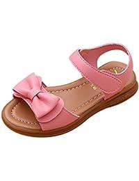 Topgrowth Sandali Bambina Ragazza Eleganti Scarpe Fiocco Partito Nozze Spiaggia Piatto Scarpe da Principessa (25, Rosa)