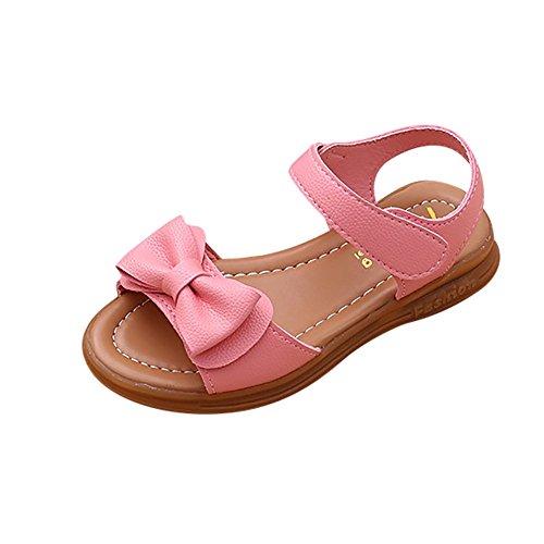 Topgrowth sandali bambina fiocco ragazze casuale estate scarpe antiscivolo sandali principessa scarpe casual (23, rosa)