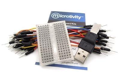 microtivity IB182 170-point Mini Breadboard for Arduino w/ Jumper Wires & USB Adapter (Transparent)