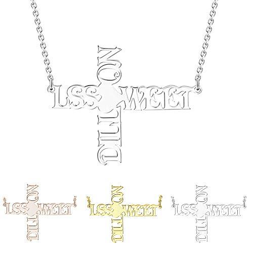 Damei collana nome argento 925 personalizzato gioielli donna ciondolo collana personalizzabile con 2 nomi anniversario compleanno regalo da bff per 2 sorella madre e figlia (silver, 18)