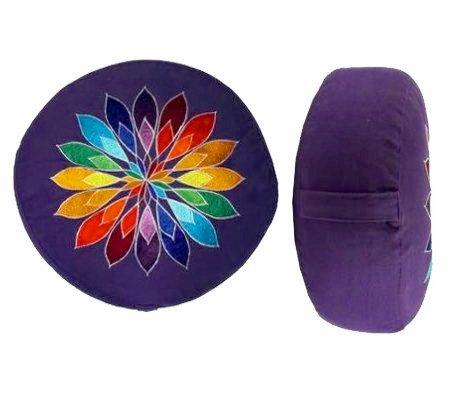 Dekorativ besticktes Sitz-/Yoga-/Meditationskissen BLÜTENZAUBER mit Tragegriff und WA