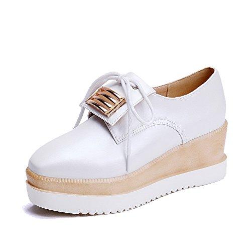 AllhqFashion Femme Couleur Unie Pu Cuir à Talon Correct Carré Lacet Chaussures Légeres Blanc