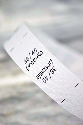 Étiquettes de taille 38 40, preemie, prema, prematuré, international, enfants, bébés, 25 pièces, double taille, pour les vêtements, pour la couture, étiquettes textiles, taille étiquettes, étiquettes de couture, coudre, 0,20 € / pcs., crème beige nature, écru