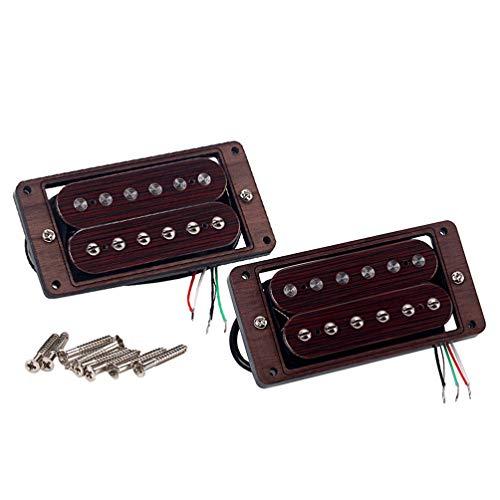 Healifty Gitarrenmikrofone, 2 Stück, Humbucker, Doppelspule, Pickup, Rosenholz, für Ersatzzubehör für elektrische Gitarre (Kaffee)
