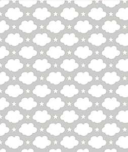 Lilipinso-Papier peint nuages et étoiles blanc L'atelier des Pieds des Ailes - Gris