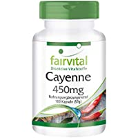 Cayenne 450mg - für 50 Tage - VEGAN - HOCHDOSIERT - 100 Kapseln - standardisiert auf 0,17% Capsaicin