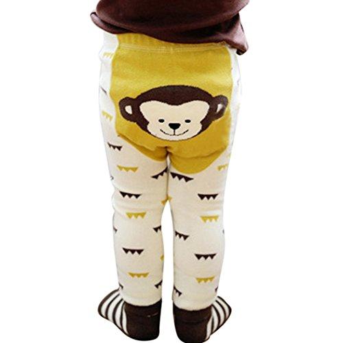 mioim Baby Butt Thermo-Strumpfhose Kinder Jungen Mädchen Leggings Hose Strumpfhosen Winter Baumwolle Pants mit Socken Beige Affen 90 cm