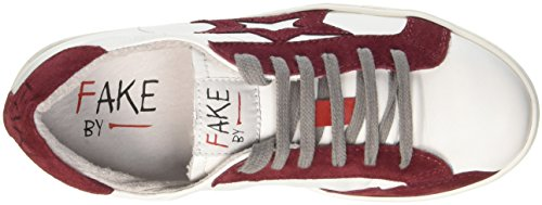 Fake By Chiodo Low F 830, Pompes à plateforme plate mixte adulte Rosso (Bianco/ Porpora)