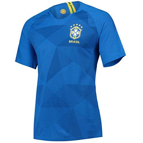 HomJo Jersey Soccer Jersey 2018 WM Heim und Auswärts Brasilien Trikot (Blue, L)