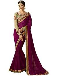 Jaanvi Fashion Women's Georgette Embellished Saree (Wine)