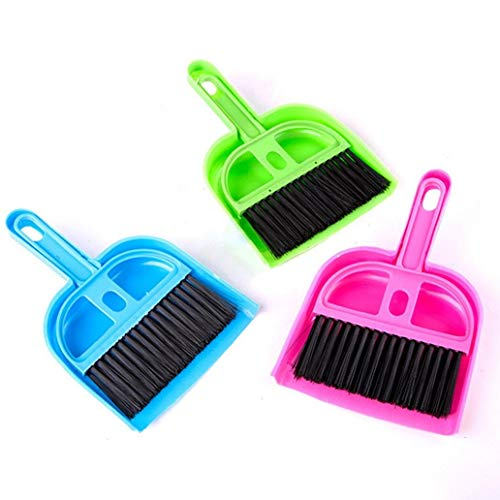 Vektenxi 1 stücke Mini Kunststoff Reinigung Kehrmaschine Kehrschaufel Besen Set für Haustiere Bettkäfig Haus Zufällige Farbe Langlebig und Praktisch