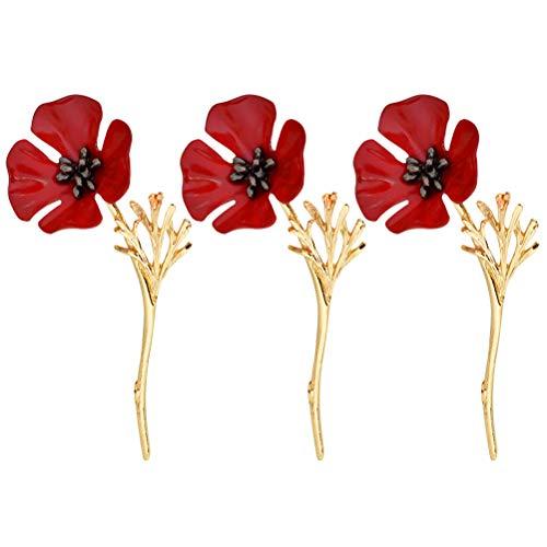 BESTOYARD Red Poppy Flower Brosche Revers Pin Legierung Abzeichen Broschen Pin Kragen Schmuck Geschenk Memorial Day Veterans Day Geschenk 3 STÜCKE (Golden)