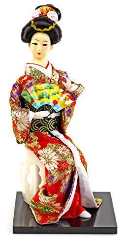 Authentische orientalische Geisha | sitzend mit Fächer | traditionelle japanische Unterhaltungs-Künstlerin | 24cm Höhe