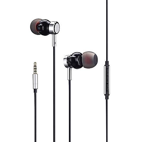 Écouteurs avec microphone, puissant haut-parleur acoustique, écouteurs intra-auriculaires, contrôle du