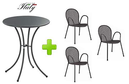Emu Table pour extérieur Pigalle Kiss diamètre 60 cm + 3 Fauteuil Ronda – en Fer zingué et Verni à poussières – Couleur Fer Ancien Fantaisie 22 – Produit fabriqué en Italie