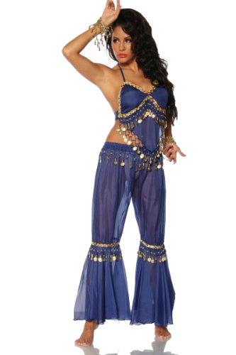 Blaues zweiteiliges Bauchtanz Kostüm Neon Orient Outfit mit Goldplättchen