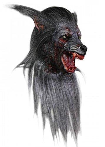 Deluxe schwarz Werwolf Scary Wolf Maske (Werwolf Deluxe Maske)