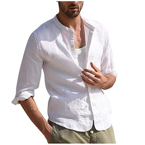 TAMALLU Herren T-Shirt Schön Modische Einfach Vintage Linen Einfarbig Tops(Weiß,2XL)