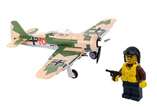 Modbrix 5514 - ✠ Bausteine Focke Wulf FW-190 A-4 Flugzeug inkl. Luftwaffen Pilot ✠ (Ww2-flugzeug Spielzeug)