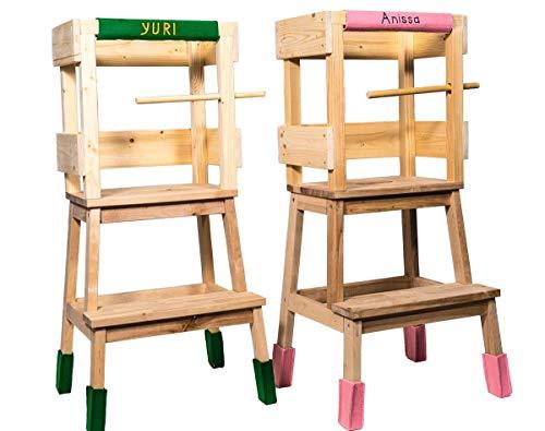 Deskiturm Torre di apprendimento Montessori, con un set di feltrini, personalizzabile