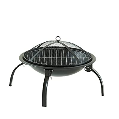 Neo® Large Black Fire Pit Folding Steel BBQ Camping Garden Patio Outdoor Heater Burner