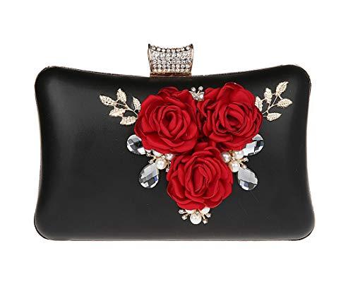 KELUOSI Elegant Damentasche Clutch Blume Abendtasche Blumenclutch Umhängetasche Handtasche Schwarz -