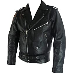 UNICORN Hombres Genuino real cuero chaqueta Estilo clásico Biker Brando Negro #B2 Tamaño (S)