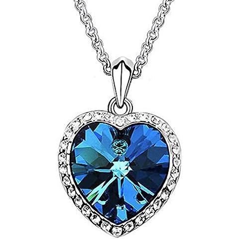 Yazilind Collar Gargantilla declaración elegante plateado plata del azul real de cristales de mar Corazón Colgante Babero para Mujeres