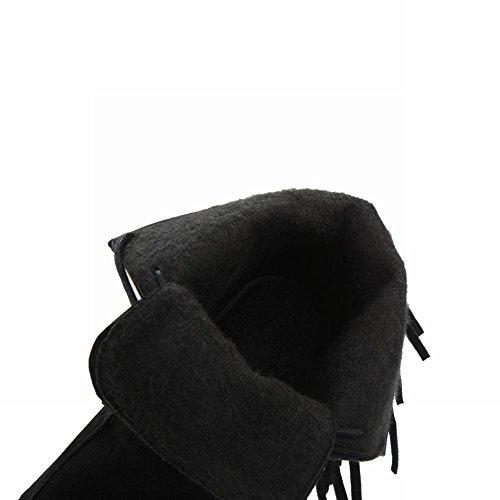 Mee Shoes Damen chunky heels Nubukleder kurzschaft Stiefel Schwarz