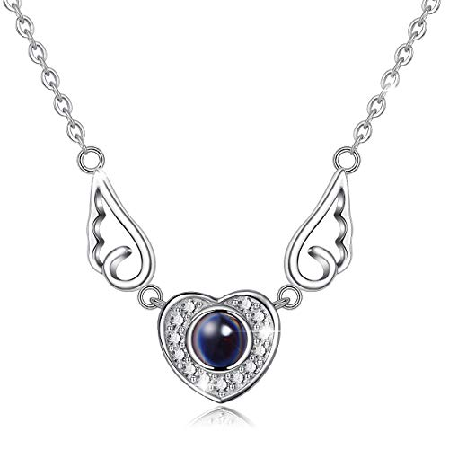 CELESTIA Women's Necklaces 'I Love You' in 100 Languages, Sterling Silver Jewelry 925, Angel's Wing Heart Pendant 46CM Chain, Love Souvenir Necklaces, Girls, with Box
