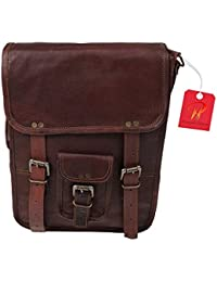 Anshika International Original Leather Vertical Sling Bag / Bags For Girls / Boys / Office / College - Dark Brown...