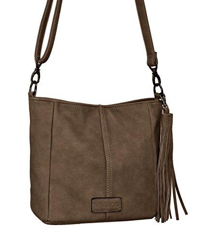 Kleine Handtasche Umhängetasche 2in1 mit Quaste Braun