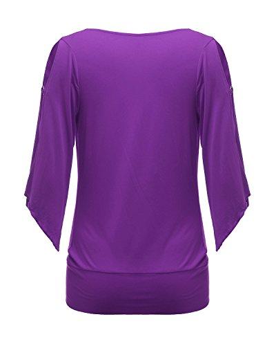 ZANZEA Sexy Col Bénitier Tops élégant Sexy épaule Creux Hauts Manches Irrégulier Casual Shirt Blouse Violet