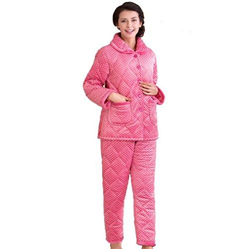 MOXIN Pigiama in micropile da donna piuma caldo pigiama Vestito-Vestaglia Pigiama Invernale Donna-Felpato 9212