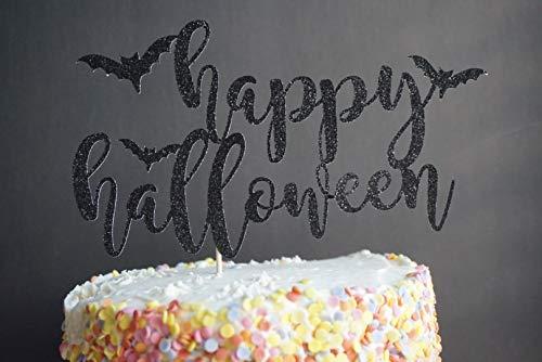 Cake Topper Black Glitter Happy Halloween Cupcake Decor Cardstock Glitter Paper (Halloween Glitter Happy)