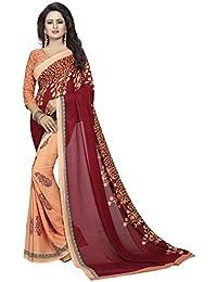 Ishin Faux Georgette Beige & Maroon Half & Half Printed Party Wear Wedding Wear Casual Wear Festive Wear Bollywood...