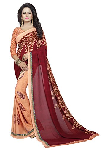 Ishin Faux Georgette Beige & Maroon Half & Half Printed Party Wear Wedding Wear Casual Wear Festive Wear Bollywood New Collection Latest Design Trendy Women's Saree/Sari  available at amazon for Rs.370