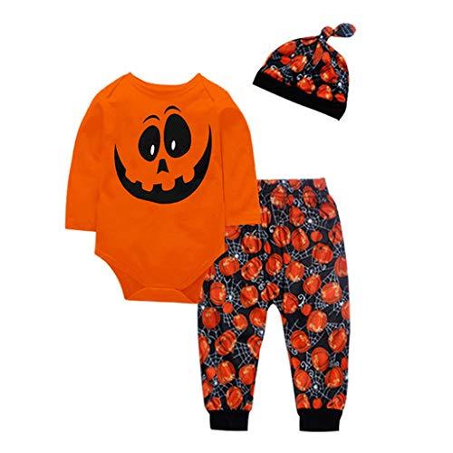 3-teiliges Set Mädchen Halloween Kind Jungen Kürbis Dekoration Strampler Eine Hosen Mütze Outfits Verkleidung Baby Pyjama 0-2 Jahre Zeremonie Stil von - Süßes 2 Teiliges Tanz Kostüm