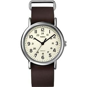 Timex Unisex-Armbanduhr Weekender Slip Through Analog LederT2N893D7