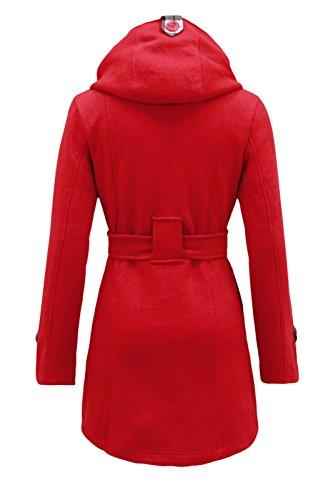 Cexi Couture Damen Zweireihig Fleece Winterjacke Mit Gürtel Jacke Mit Kapuze Rot